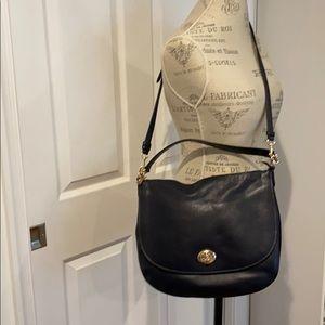 COACH Turnlock Navy Hobo Bag